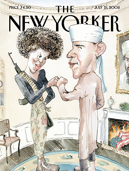 "July 21, 2008 cover of ""The New Yorker"""